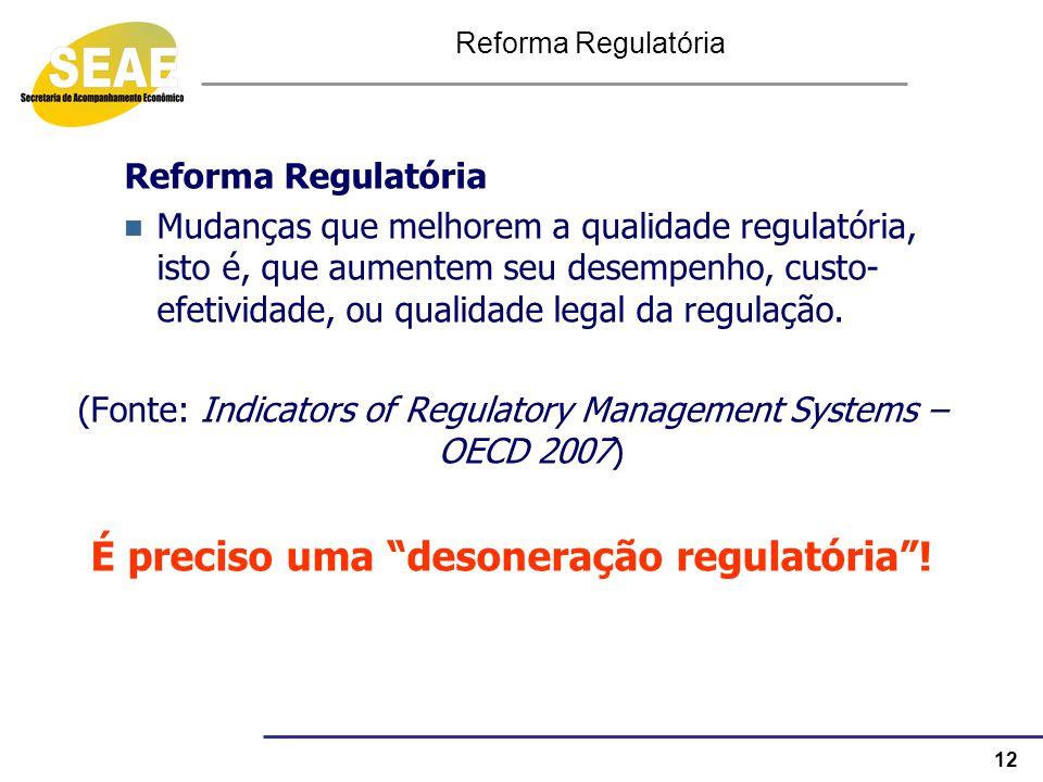 12 Reforma Regulatória Mudanças que melhorem a qualidade regulatória, isto é, que aumentem seu desempenho, custo- efetividade, ou qualidade legal da r
