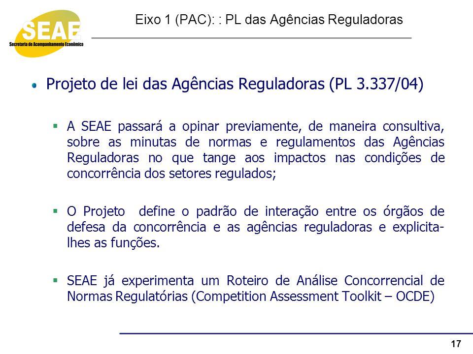 17 Eixo 1 (PAC): : PL das Agências Reguladoras Projeto de lei das Agências Reguladoras (PL 3.337/04) A SEAE passará a opinar previamente, de maneira c