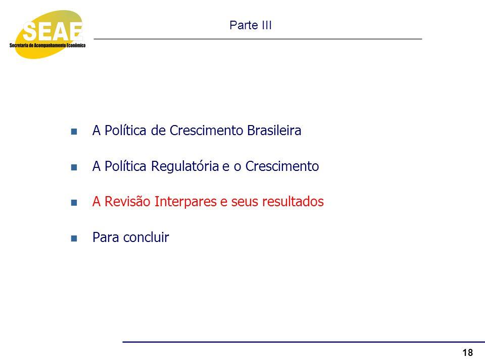 18 Parte III A Política de Crescimento Brasileira A Política Regulatória e o Crescimento A Revisão Interpares e seus resultados Para concluir