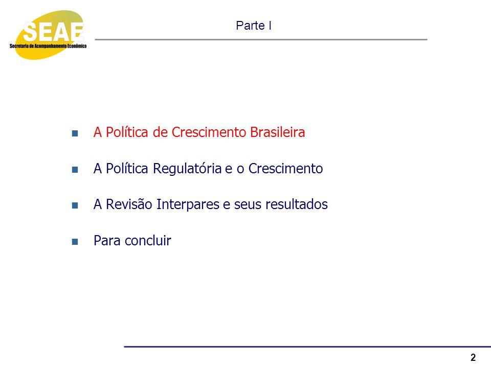 2 Parte I A Política de Crescimento Brasileira A Política Regulatória e o Crescimento A Revisão Interpares e seus resultados Para concluir
