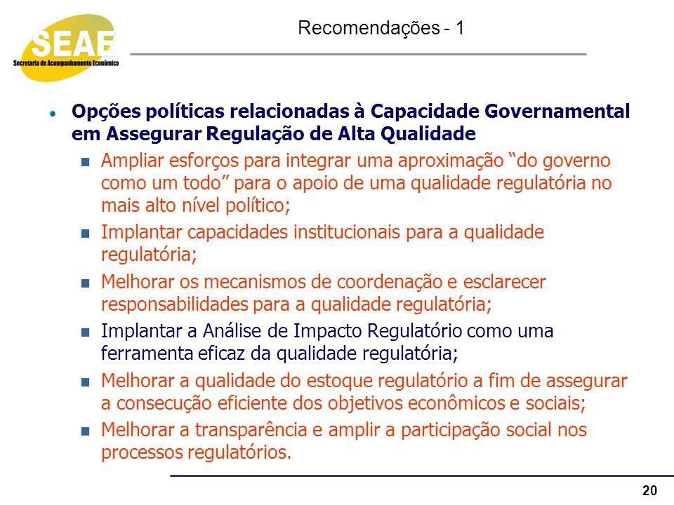 20 Opções políticas relacionadas à Capacidade Governamental em Assegurar Regulação de Alta Qualidade Ampliar esforços para integrar uma aproximação do