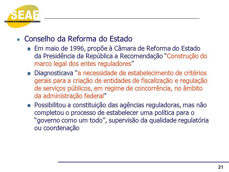 21 Conselho da Reforma do Estado Em maio de 1996, propõe à Câmara de Reforma do Estado da Presidência da República a Recomendação Construção do marco