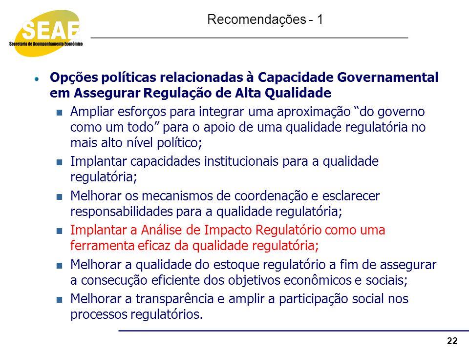 22 Opções políticas relacionadas à Capacidade Governamental em Assegurar Regulação de Alta Qualidade Ampliar esforços para integrar uma aproximação do