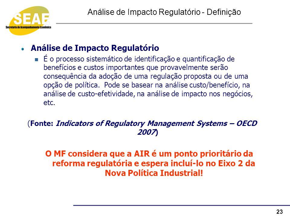 23 Análise de Impacto Regulatório - Definição Análise de Impacto Regulatório É o processo sistemático de identificação e quantificação de benefícios e