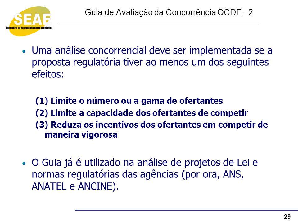 29 Guia de Avaliação da Concorrência OCDE - 2 Uma análise concorrencial deve ser implementada se a proposta regulatória tiver ao menos um dos seguinte