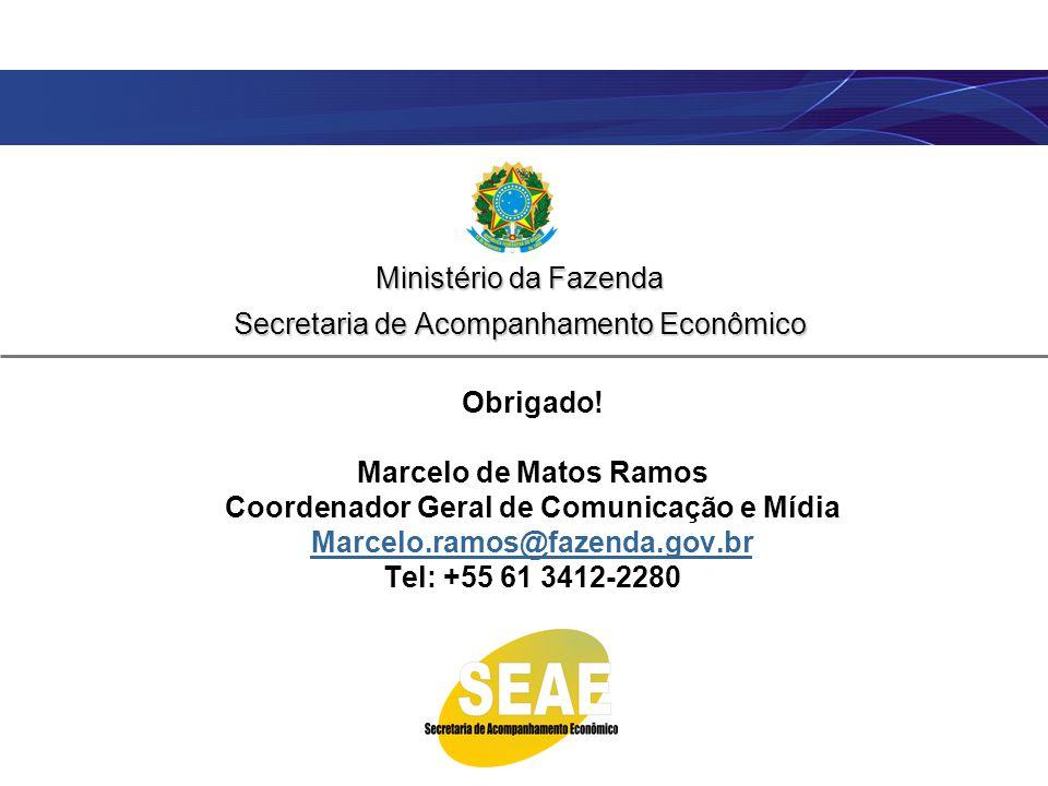 Ministério da Fazenda Secretaria de Acompanhamento Econômico Obrigado! Marcelo de Matos Ramos Coordenador Geral de Comunicação e Mídia Marcelo.ramos@f