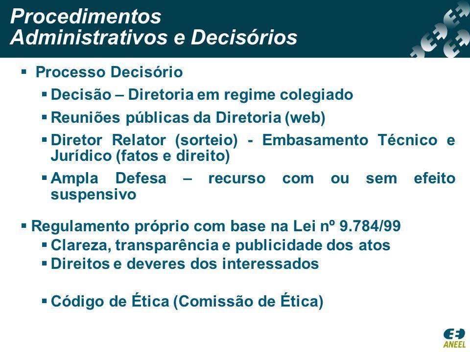 Reunião Pública de Diretoria Transmissão via WEB Decisão colegiada Diretor-Relator (sorteio) Embasamento Técnico e Jurídico (Fatos e Direito) Ampla Defesa – recurso com ou sem efeito suspensivo