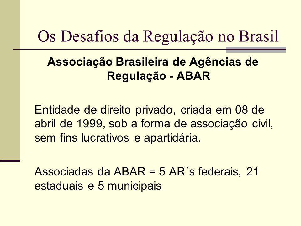 Os Desafios da Regulação no Brasil Associação Brasileira de Agências de Regulação - ABAR Entidade de direito privado, criada em 08 de abril de 1999, s