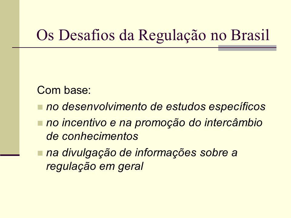 Os Desafios da Regulação no Brasil Com base: no desenvolvimento de estudos específicos no incentivo e na promoção do intercâmbio de conhecimentos na d