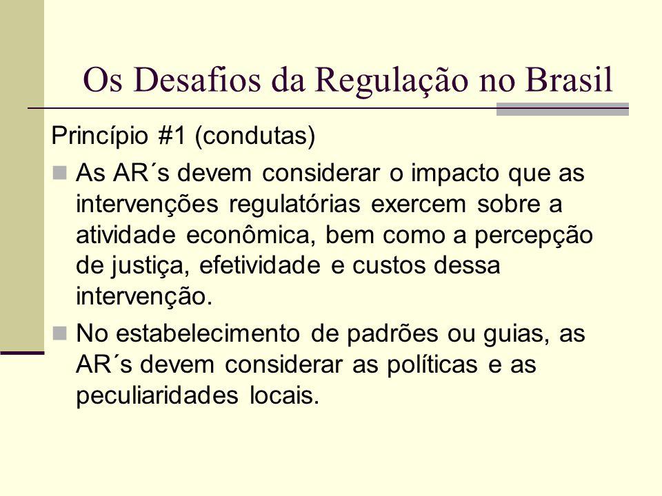 Os Desafios da Regulação no Brasil Princípio #1 (condutas) As AR´s devem considerar o impacto que as intervenções regulatórias exercem sobre a ativida