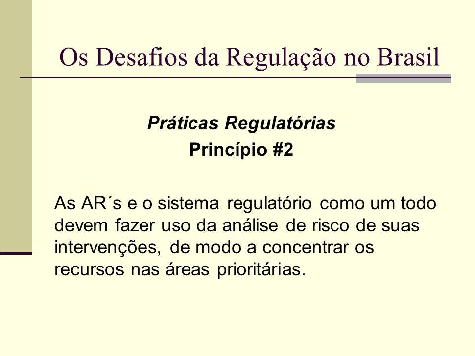 Os Desafios da Regulação no Brasil Práticas Regulatórias Princípio #2 As AR´s e o sistema regulatório como um todo devem fazer uso da análise de risco