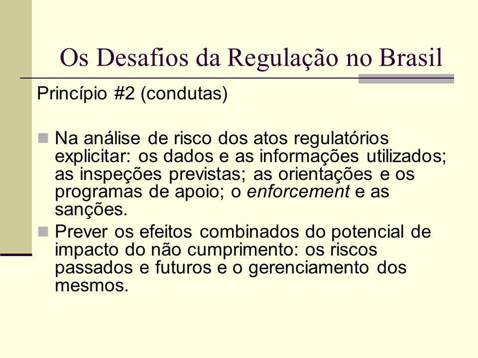 Os Desafios da Regulação no Brasil Princípio #2 (condutas) Na análise de risco dos atos regulatórios explicitar: os dados e as informações utilizados;
