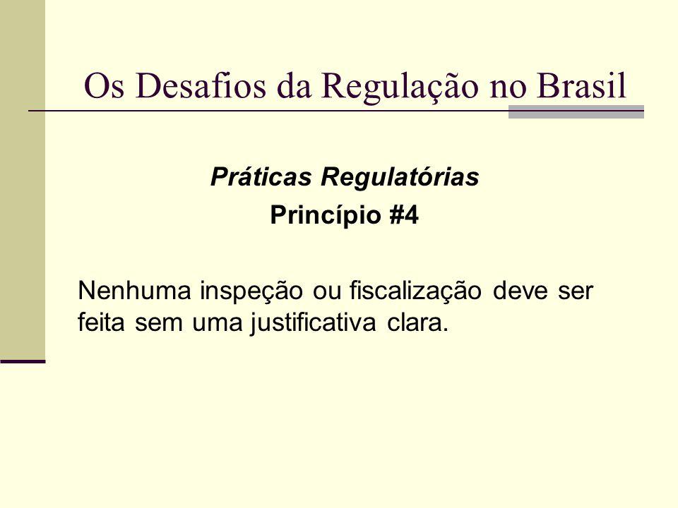 Os Desafios da Regulação no Brasil Práticas Regulatórias Princípio #4 Nenhuma inspeção ou fiscalização deve ser feita sem uma justificativa clara.