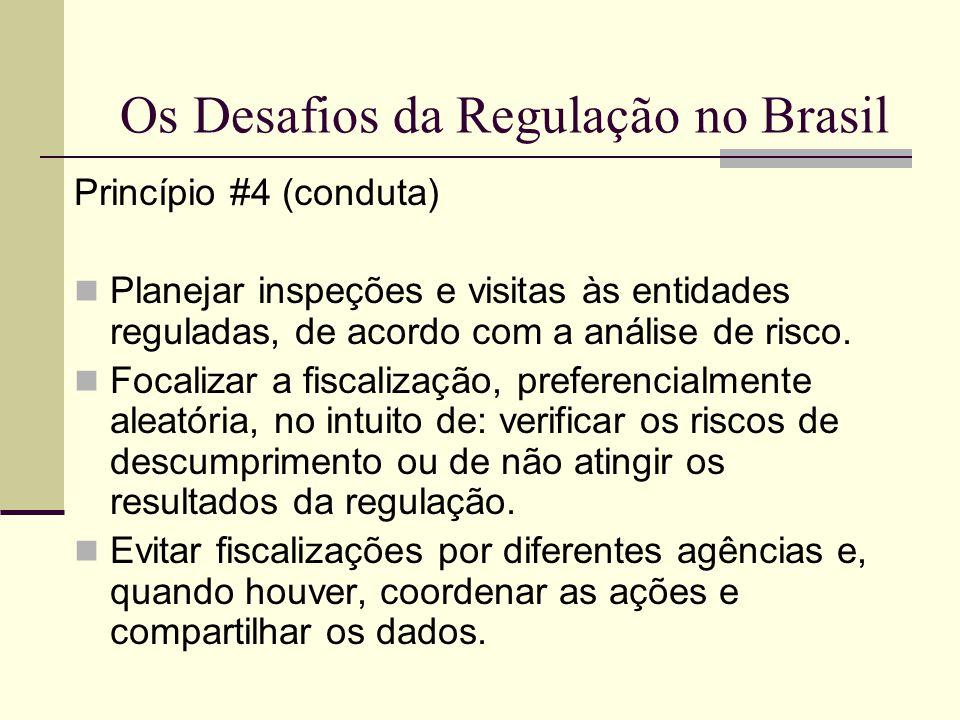 Os Desafios da Regulação no Brasil Princípio #4 (conduta) Planejar inspeções e visitas às entidades reguladas, de acordo com a análise de risco. Focal