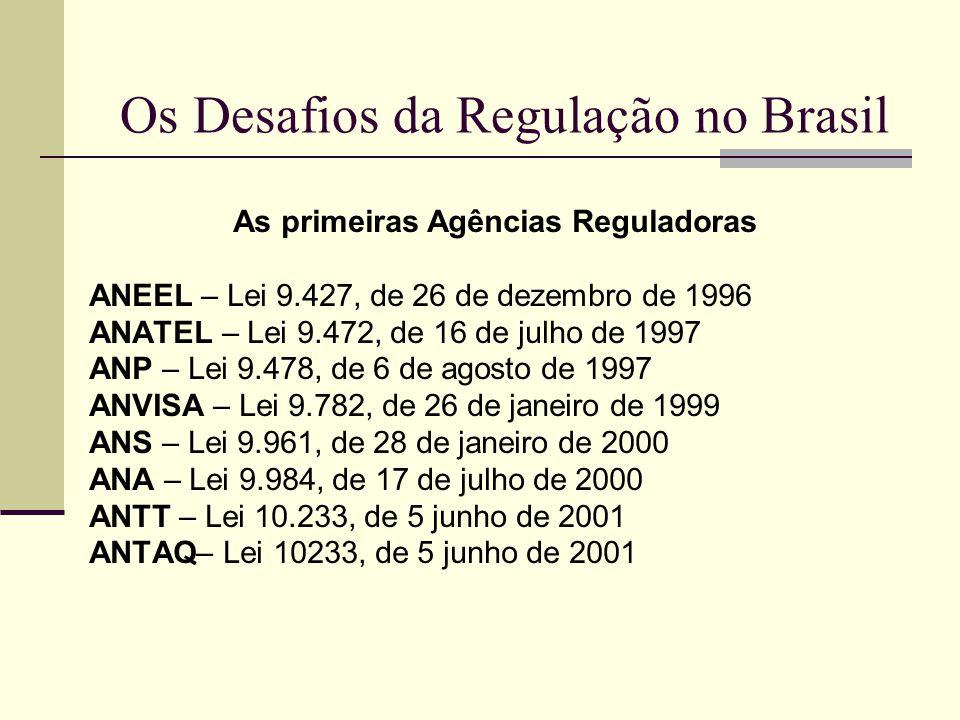 Os Desafios da Regulação no Brasil As primeiras Agências Reguladoras ANEEL – Lei 9.427, de 26 de dezembro de 1996 ANATEL – Lei 9.472, de 16 de julho d