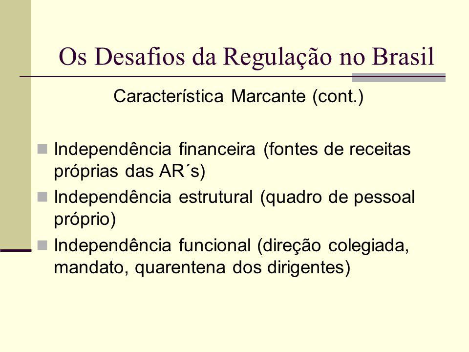 Os Desafios da Regulação no Brasil Característica Marcante (cont.) Independência financeira (fontes de receitas próprias das AR´s) Independência estru