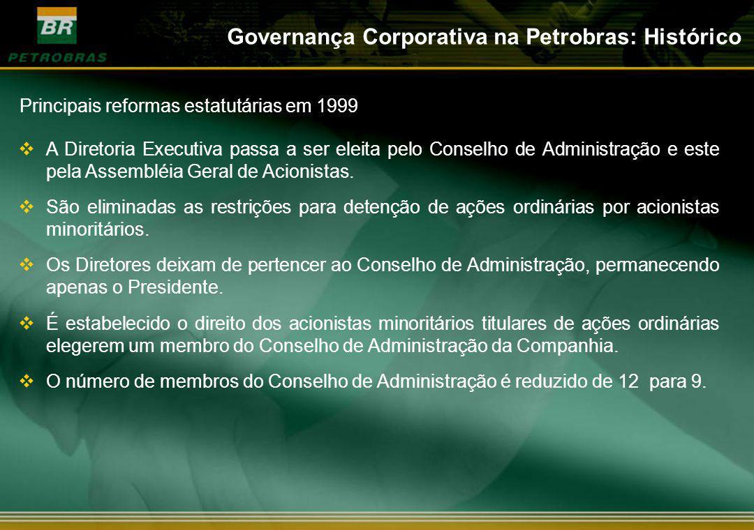 A Diretoria Executiva passa a ser eleita pelo Conselho de Administração e este pela Assembléia Geral de Acionistas. São eliminadas as restrições para