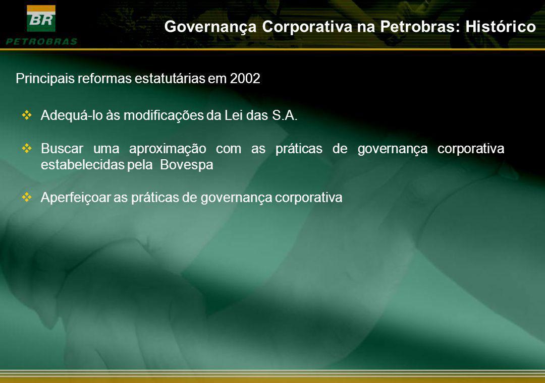 Adequá-lo às modificações da Lei das S.A. Buscar uma aproximação com as práticas de governança corporativa estabelecidas pela Bovespa Aperfeiçoar as p