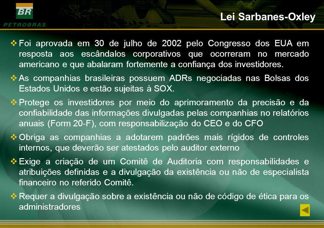 Foi aprovada em 30 de julho de 2002 pelo Congresso dos EUA em resposta aos escândalos corporativos que ocorreram no mercado americano e que abalaram f