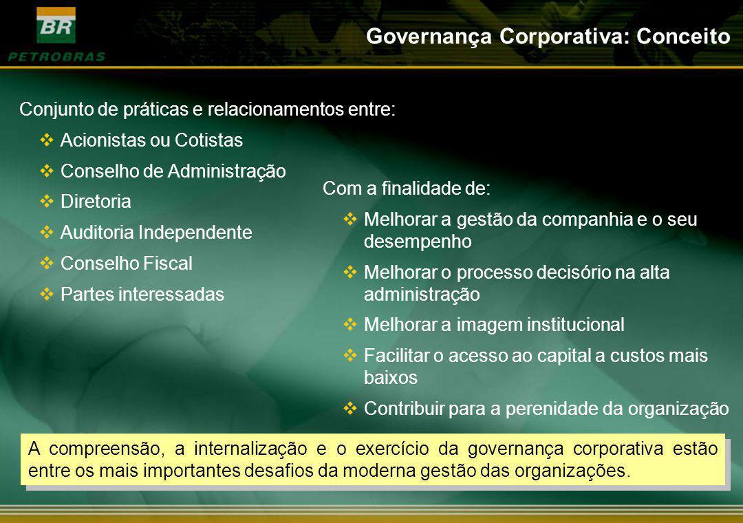 Com a finalidade de: Melhorar a gestão da companhia e o seu desempenho Melhorar o processo decisório na alta administração Melhorar a imagem instituci