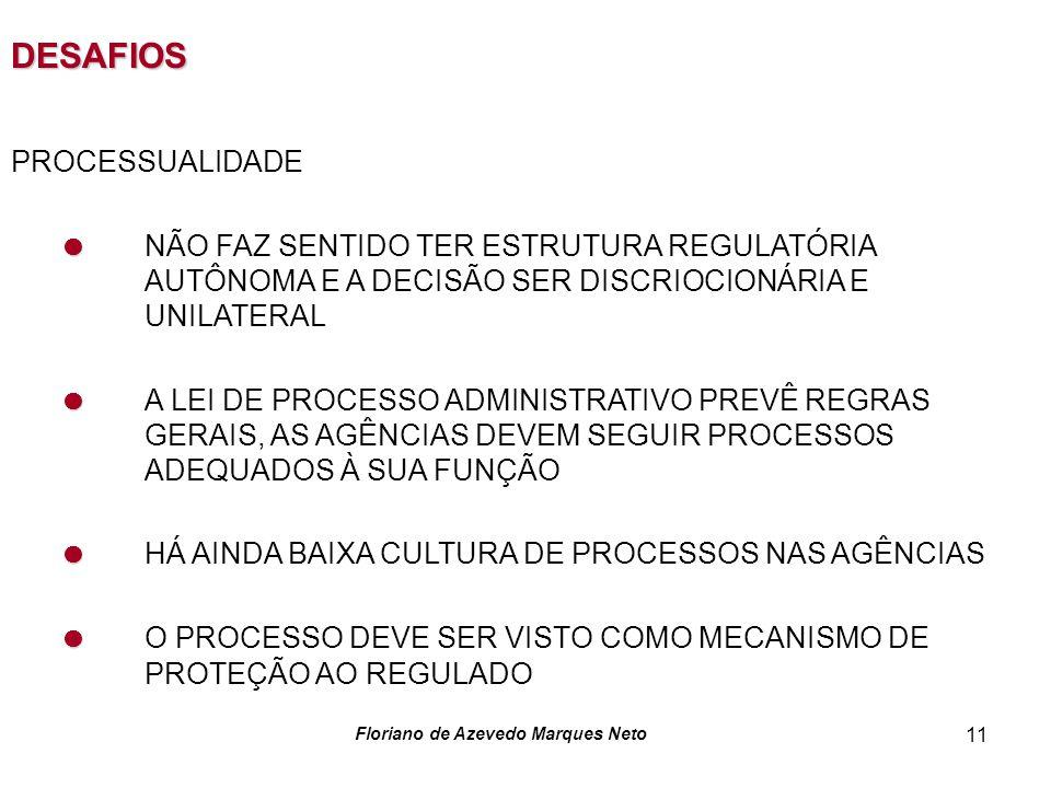 Floriano de Azevedo Marques Neto 11 DESAFIOS PROCESSUALIDADE NÃO FAZ SENTIDO TER ESTRUTURA REGULATÓRIA AUTÔNOMA E A DECISÃO SER DISCRIOCIONÁRIA E UNILATERAL A LEI DE PROCESSO ADMINISTRATIVO PREVÊ REGRAS GERAIS, AS AGÊNCIAS DEVEM SEGUIR PROCESSOS ADEQUADOS À SUA FUNÇÃO HÁ AINDA BAIXA CULTURA DE PROCESSOS NAS AGÊNCIAS O PROCESSO DEVE SER VISTO COMO MECANISMO DE PROTEÇÃO AO REGULADO