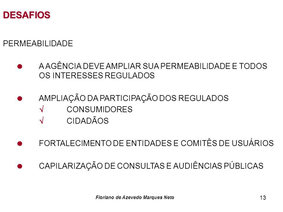 Floriano de Azevedo Marques Neto 13 DESAFIOS PERMEABILIDADE A AGÊNCIA DEVE AMPLIAR SUA PERMEABILIDADE E TODOS OS INTERESSES REGULADOS AMPLIAÇÃO DA PAR