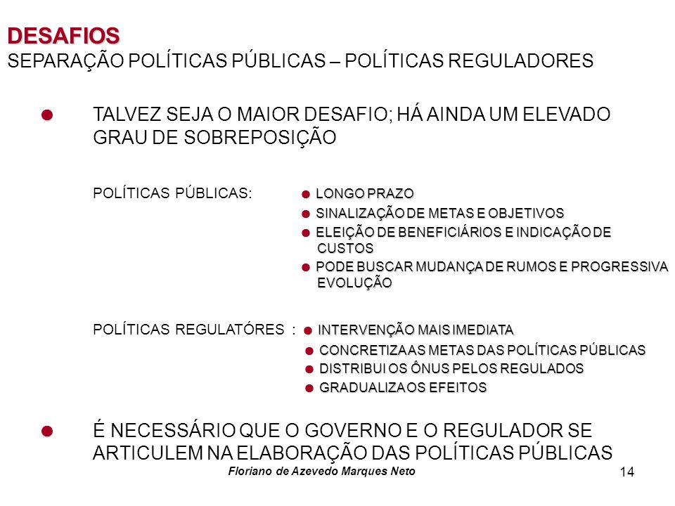 Floriano de Azevedo Marques Neto 14 DESAFIOS SEPARAÇÃO POLÍTICAS PÚBLICAS – POLÍTICAS REGULADORES TALVEZ SEJA O MAIOR DESAFIO; HÁ AINDA UM ELEVADO GRAU DE SOBREPOSIÇÃO LONGO PRAZO POLÍTICAS PÚBLICAS: LONGO PRAZO SINALIZAÇÃO DE METAS E OBJETIVOS SINALIZAÇÃO DE METAS E OBJETIVOS ELEIÇÃO DE BENEFICIÁRIOS E INDICAÇÃO DE CUSTOS ELEIÇÃO DE BENEFICIÁRIOS E INDICAÇÃO DE CUSTOS PODE BUSCAR MUDANÇA DE RUMOS E PROGRESSIVA EVOLUÇÃO PODE BUSCAR MUDANÇA DE RUMOS E PROGRESSIVA EVOLUÇÃO INTERVENÇÃO MAIS IMEDIATA POLÍTICAS REGULATÓRES : INTERVENÇÃO MAIS IMEDIATA CONCRETIZA AS METAS DAS POLÍTICAS PÚBLICAS CONCRETIZA AS METAS DAS POLÍTICAS PÚBLICAS DISTRIBUI OS ÔNUS PELOS REGULADOS DISTRIBUI OS ÔNUS PELOS REGULADOS GRADUALIZA OS EFEITOS GRADUALIZA OS EFEITOS É NECESSÁRIO QUE O GOVERNO E O REGULADOR SE ARTICULEM NA ELABORAÇÃO DAS POLÍTICAS PÚBLICAS
