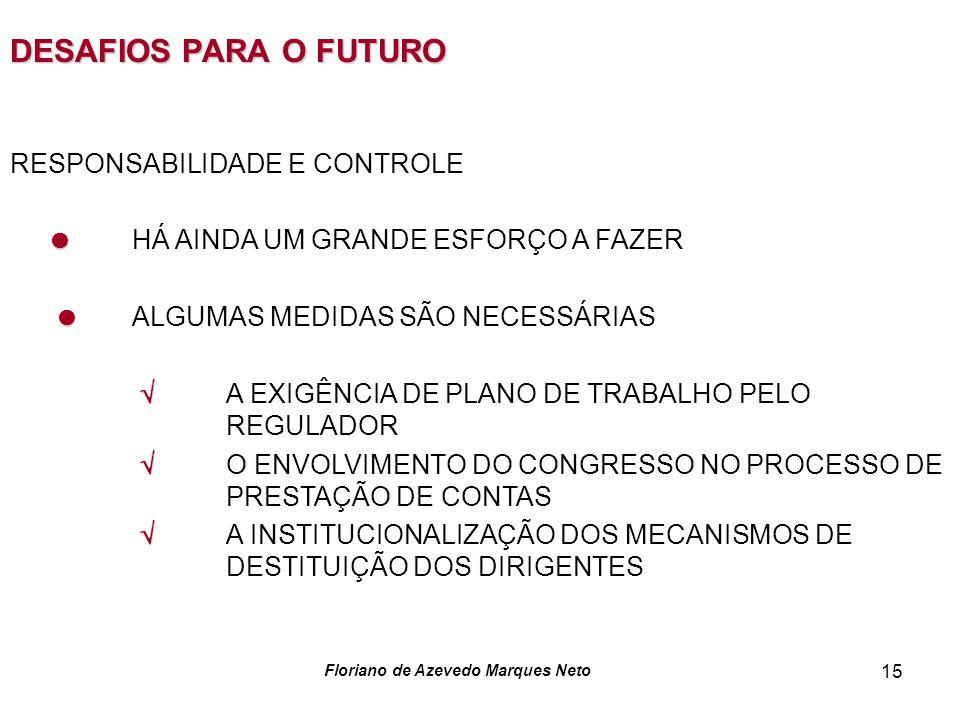 Floriano de Azevedo Marques Neto 15 DESAFIOS PARA O FUTURO RESPONSABILIDADE E CONTROLE HÁ AINDA UM GRANDE ESFORÇO A FAZER ALGUMAS MEDIDAS SÃO NECESSÁRIAS A EXIGÊNCIA DE PLANO DE TRABALHO PELO REGULADOR O ENVOLVIMENTO DO CONGRESSO NO PROCESSO DE PRESTAÇÃO DE CONTAS A INSTITUCIONALIZAÇÃO DOS MECANISMOS DE DESTITUIÇÃO DOS DIRIGENTES