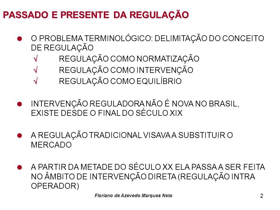 Floriano de Azevedo Marques Neto 3 PASSADO E PRESENTE DA REGULAÇÃO A PARTIR DOS ANOS 90 A REGULAÇÃO MODIFICA-SE SEPARAÇÃO ENTRE REGULADOR E OPERADOR CONSTITUIÇÃO DE SUB-SISTEMAS REGULATÓRIOS INSTITUIÇÃO DE ÓRGÃOS REGULADORES AUTONÔMOS ATRIBUIÇÃO DE FORTES MARCAS DE DISCRICIONARIDADE REGULATÓRIA SEPARAÇÃO POLÍTICA PÚBLICA - REGULAÇÃO ESSE MODELO DE REGULAÇÃO ESTÁ FAZENDO 10 ANOS JÁ SE PODE FAZER UM BALANÇO DE SEUS ÊXITOS E DEFICIÊNCIAS TENHO COMIGO QUE O BALANÇO É BASTANTE FAVORÁVEL À ATUAÇÃO DAS AGÊNCIAS E AO MODELO REGULATÓRIO