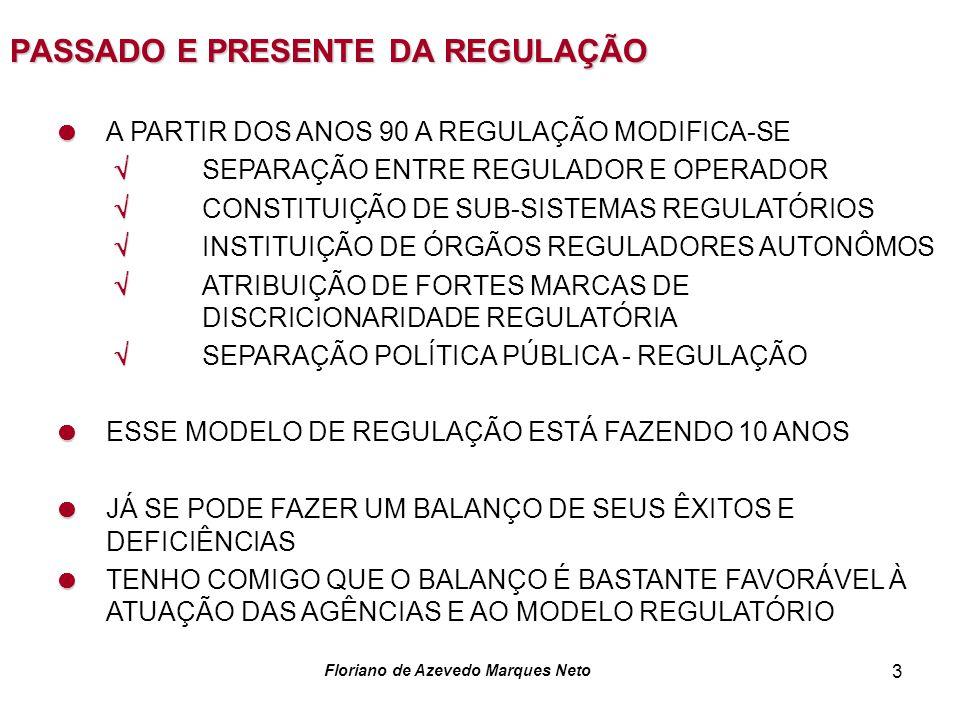 Floriano de Azevedo Marques Neto 3 PASSADO E PRESENTE DA REGULAÇÃO A PARTIR DOS ANOS 90 A REGULAÇÃO MODIFICA-SE SEPARAÇÃO ENTRE REGULADOR E OPERADOR C