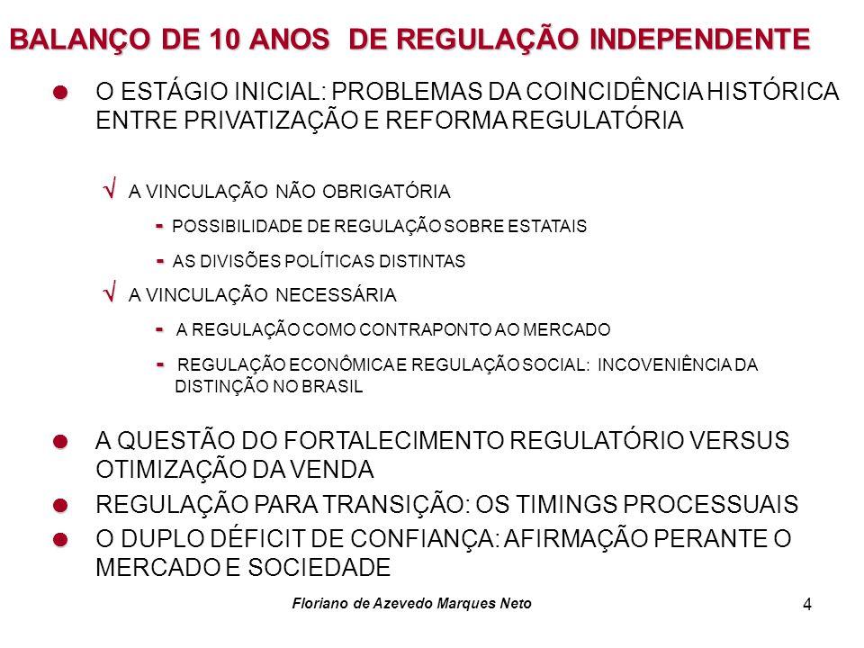 Floriano de Azevedo Marques Neto 4 BALANÇO DE 10 ANOS DE REGULAÇÃO INDEPENDENTE O ESTÁGIO INICIAL: PROBLEMAS DA COINCIDÊNCIA HISTÓRICA ENTRE PRIVATIZAÇÃO E REFORMA REGULATÓRIA A VINCULAÇÃO NÃO OBRIGATÓRIA - - POSSIBILIDADE DE REGULAÇÃO SOBRE ESTATAIS - - AS DIVISÕES POLÍTICAS DISTINTAS A VINCULAÇÃO NECESSÁRIA - - A REGULAÇÃO COMO CONTRAPONTO AO MERCADO - - REGULAÇÃO ECONÔMICA E REGULAÇÃO SOCIAL: INCOVENIÊNCIA DA DISTINÇÃO NO BRASIL A QUESTÃO DO FORTALECIMENTO REGULATÓRIO VERSUS OTIMIZAÇÃO DA VENDA REGULAÇÃO PARA TRANSIÇÃO: OS TIMINGS PROCESSUAIS O DUPLO DÉFICIT DE CONFIANÇA: AFIRMAÇÃO PERANTE O MERCADO E SOCIEDADE