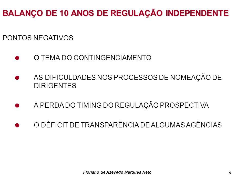 Floriano de Azevedo Marques Neto 9 BALANÇO DE 10 ANOS DE REGULAÇÃO INDEPENDENTE PONTOS NEGATIVOS O TEMA DO CONTINGENCIAMENTO AS DIFICULDADES NOS PROCESSOS DE NOMEAÇÃO DE DIRIGENTES A PERDA DO TIMING DO REGULAÇÃO PROSPECTIVA O DÉFICIT DE TRANSPARÊNCIA DE ALGUMAS AGÊNCIAS