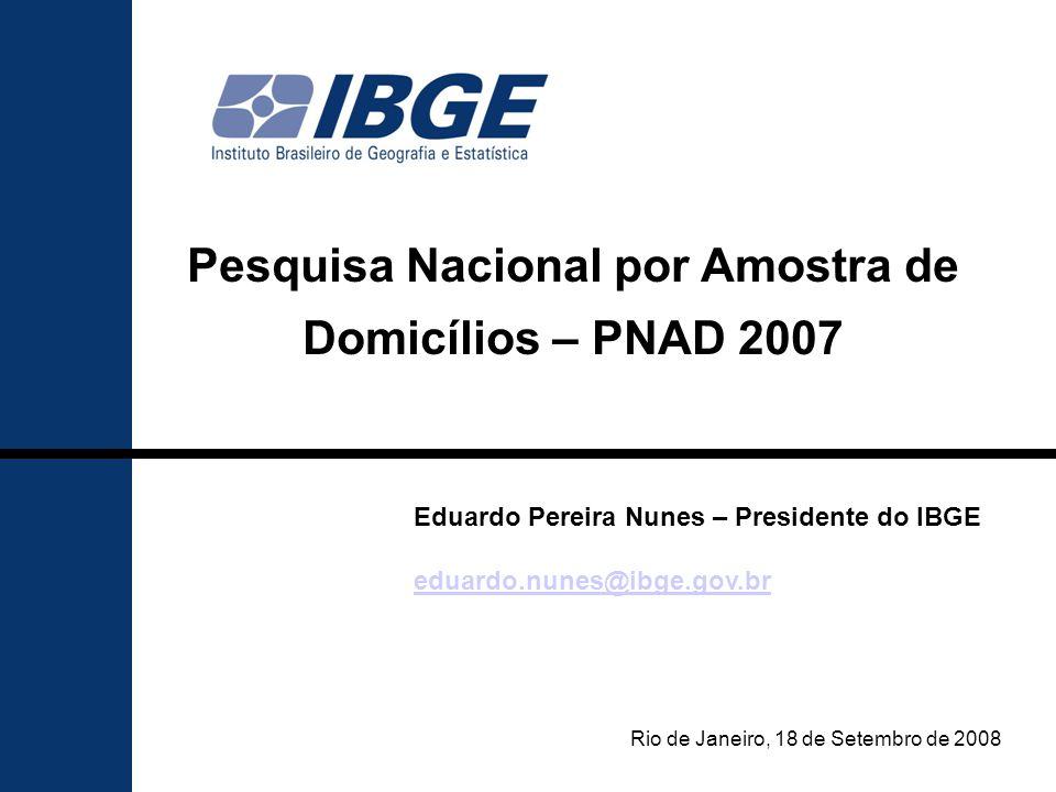 2 Destaques da PNAD 2007 Domicílios População Educação Emprego e renda Distribuição de renda Indicadores econômicos