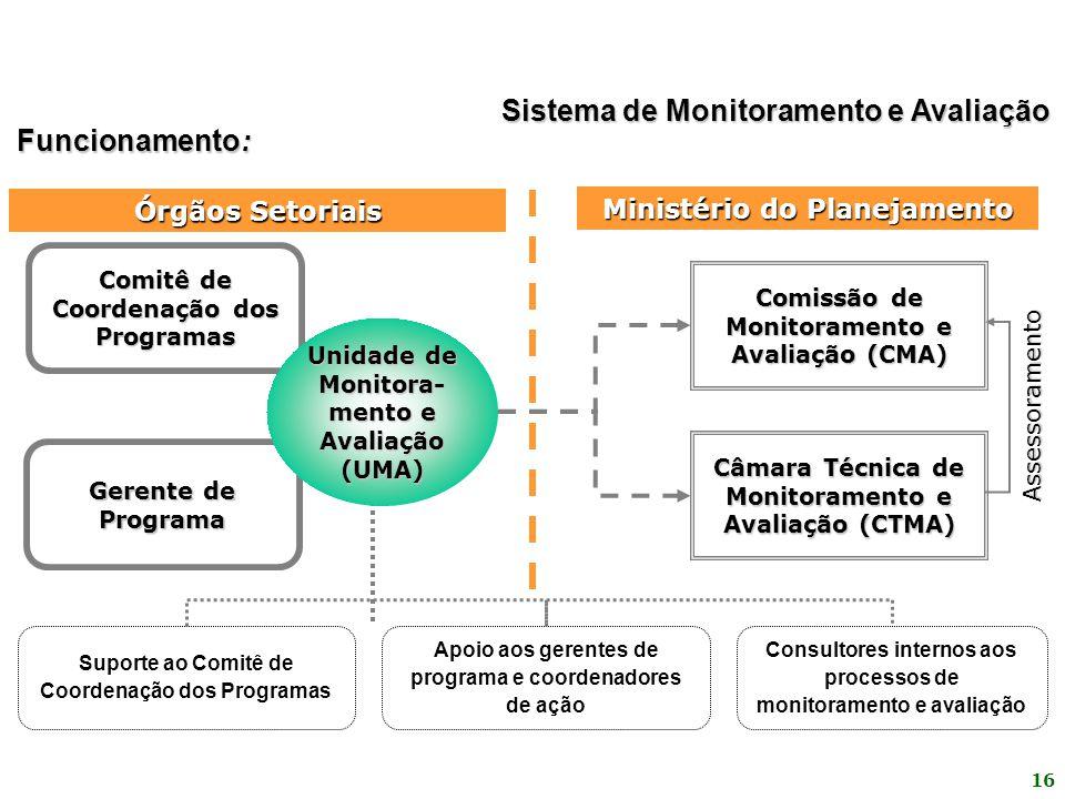 16 Comissão de Monitoramento e Avaliação (CMA) Câmara Técnica de Monitoramento e Avaliação (CTMA) Suporte ao Comitê de Coordenação dos Programas Apoio