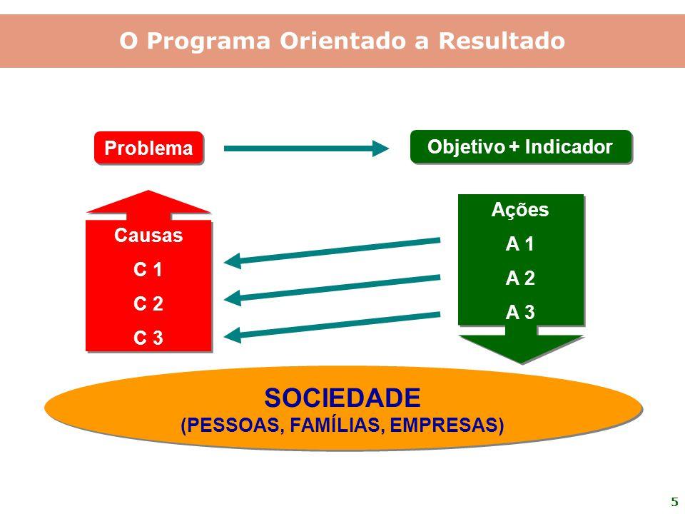 5 Problema Objetivo + Indicador Causas C 1 C 2 C 3 Causas C 1 C 2 C 3 SOCIEDADE (PESSOAS, FAMÍLIAS, EMPRESAS) SOCIEDADE (PESSOAS, FAMÍLIAS, EMPRESAS)