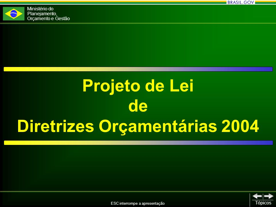 Ministério do Planejamento, Orçamento e Gestão ESC interrompe a apresentação Tópicos Projeto de Lei de Diretrizes Orçamentárias 2004