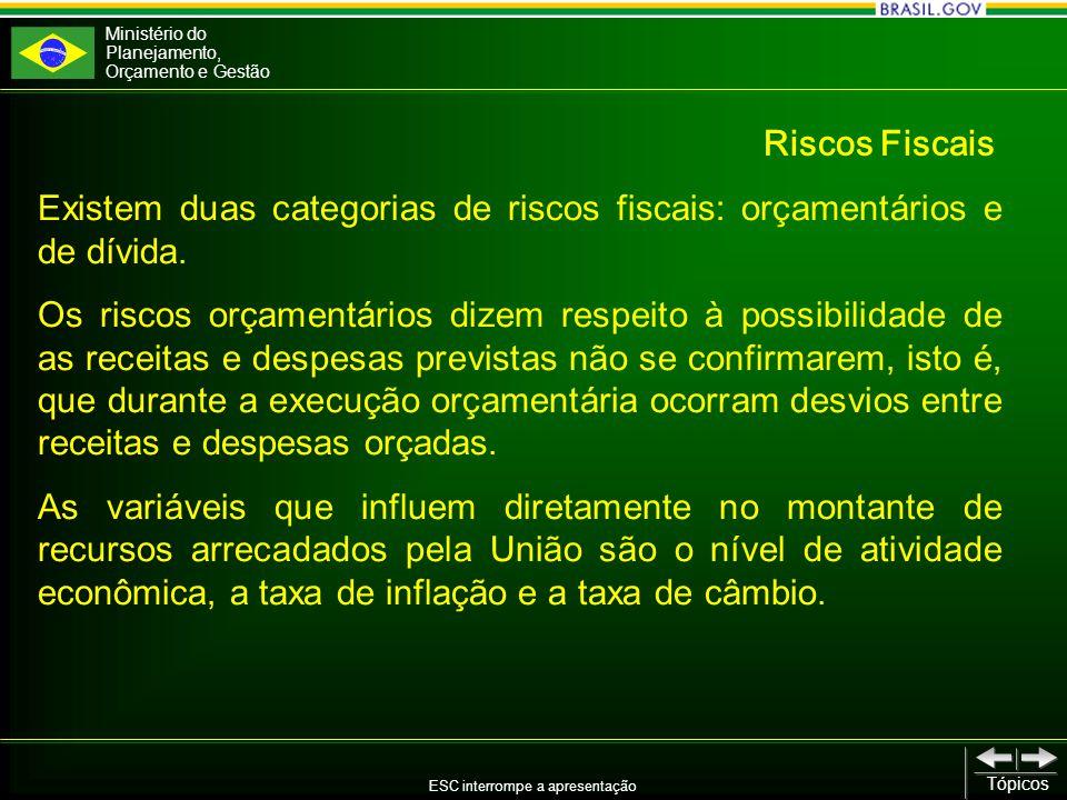 Ministério do Planejamento, Orçamento e Gestão ESC interrompe a apresentação Tópicos Existem duas categorias de riscos fiscais: orçamentários e de dívida.