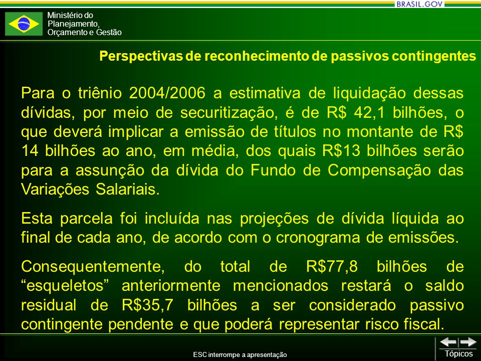 Ministério do Planejamento, Orçamento e Gestão ESC interrompe a apresentação Tópicos Para o triênio 2004/2006 a estimativa de liquidação dessas dívidas, por meio de securitização, é de R$ 42,1 bilhões, o que deverá implicar a emissão de títulos no montante de R$ 14 bilhões ao ano, em média, dos quais R$13 bilhões serão para a assunção da dívida do Fundo de Compensação das Variações Salariais.