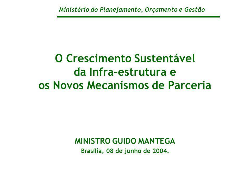 Ministério do Planejamento, Orçamento e Gestão O Crescimento Sustentável da Infra-estrutura e os Novos Mecanismos de Parceria MINISTRO GUIDO MANTEGA Brasília, 08 de junho de 2004.