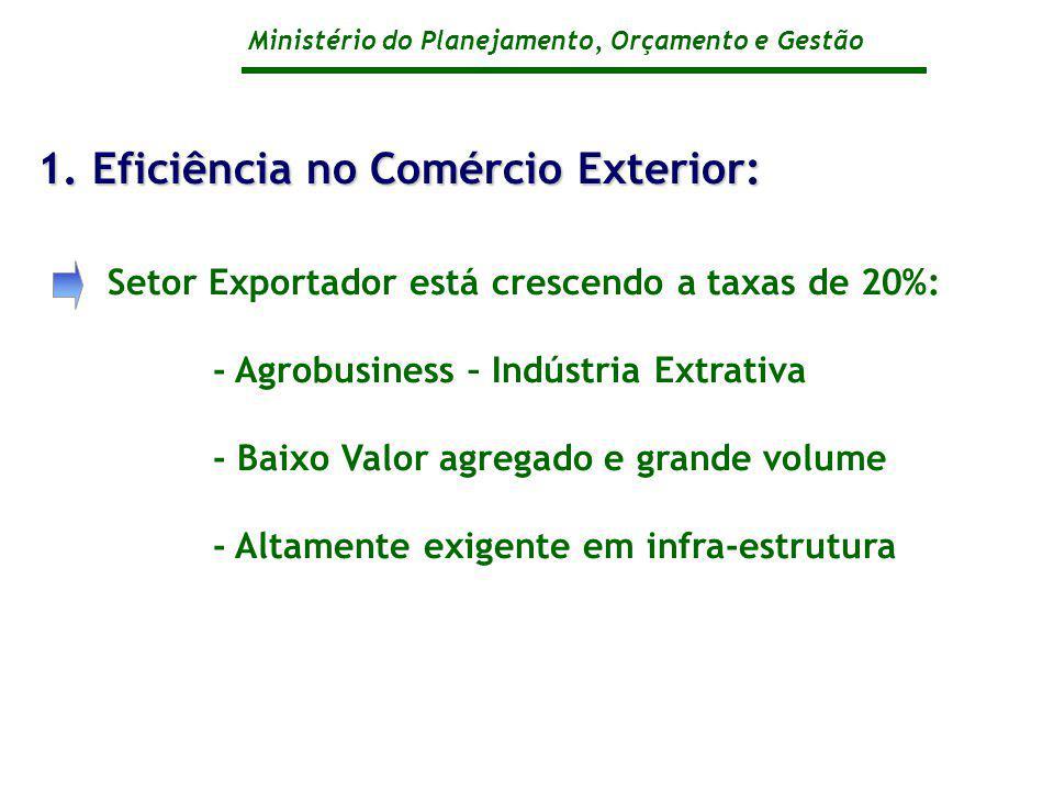 Ministério do Planejamento, Orçamento e Gestão Setor Exportador está crescendo a taxas de 20%: - Agrobusiness – Indústria Extrativa - Baixo Valor agre