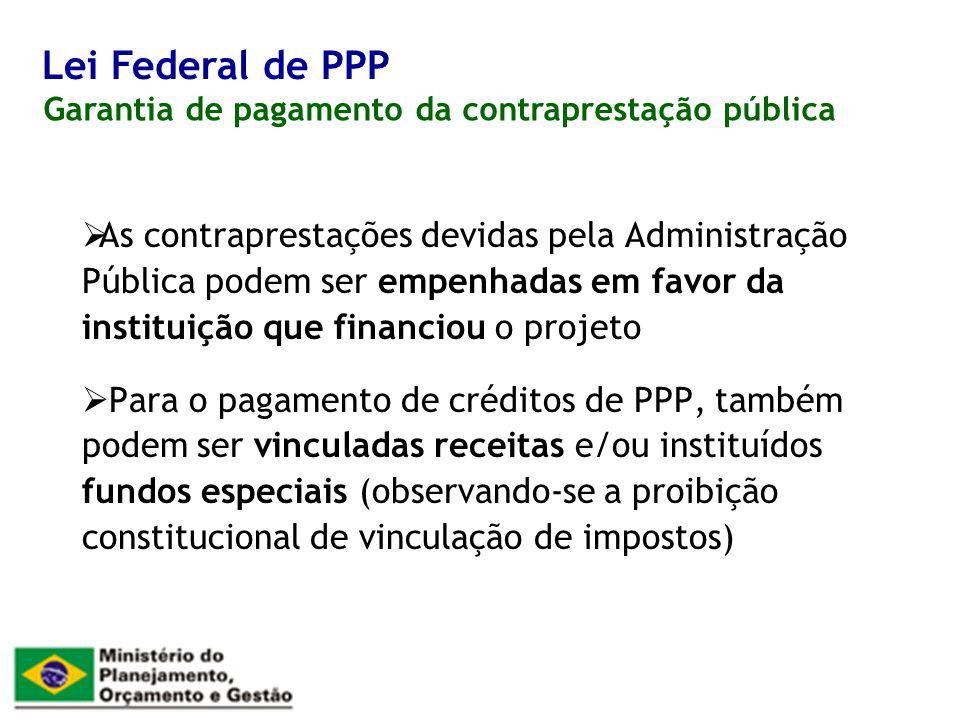As contraprestações devidas pela Administração Pública podem ser empenhadas em favor da instituição que financiou o projeto Para o pagamento de crédit