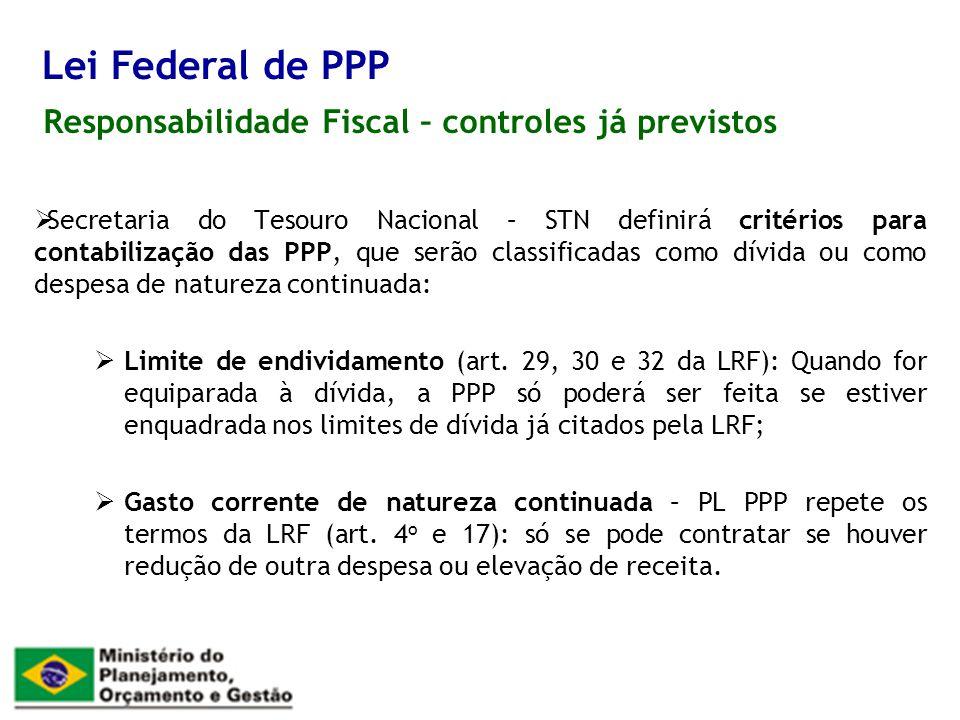 Responsabilidade Fiscal – controles já previstos Lei Federal de PPP Secretaria do Tesouro Nacional – STN definirá critérios para contabilização das PP
