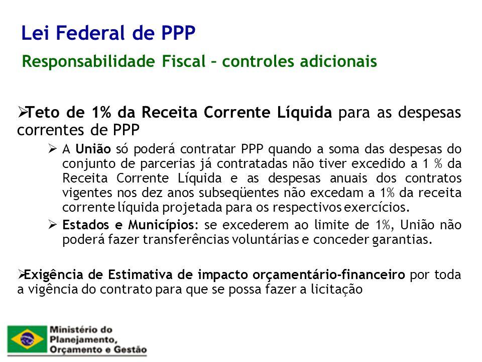 Responsabilidade Fiscal – controles adicionais Lei Federal de PPP Teto de 1% da Receita Corrente Líquida para as despesas correntes de PPP A União só