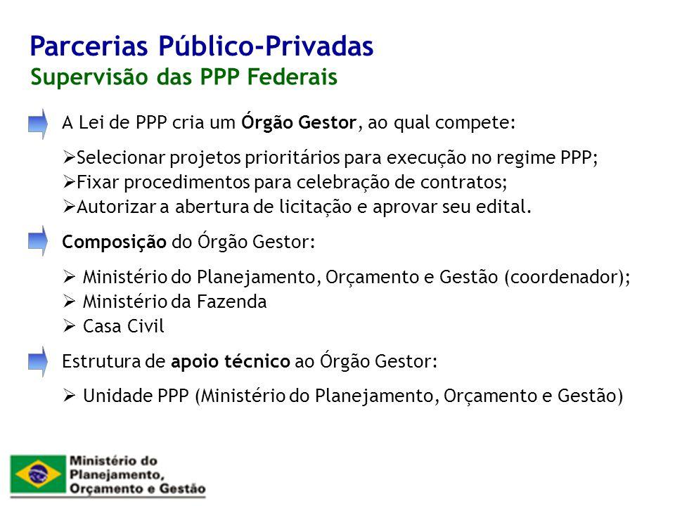 A Lei de PPP cria um Órgão Gestor, ao qual compete: Selecionar projetos prioritários para execução no regime PPP; Fixar procedimentos para celebração