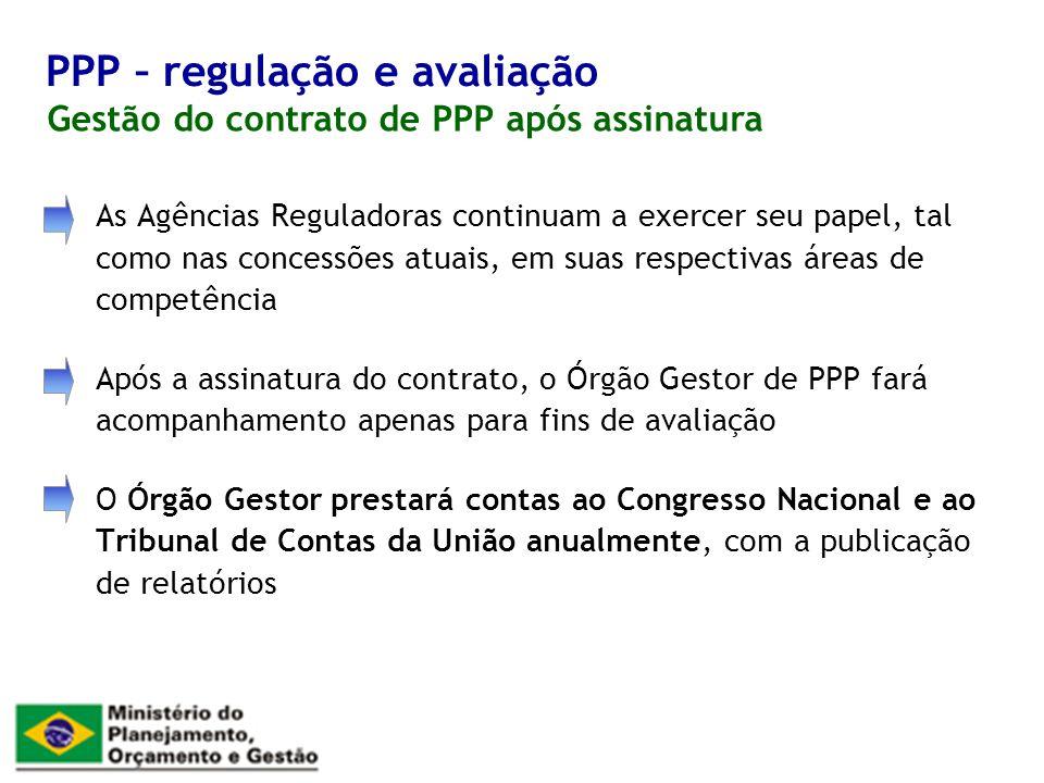 As Agências Reguladoras continuam a exercer seu papel, tal como nas concessões atuais, em suas respectivas áreas de competência Após a assinatura do c