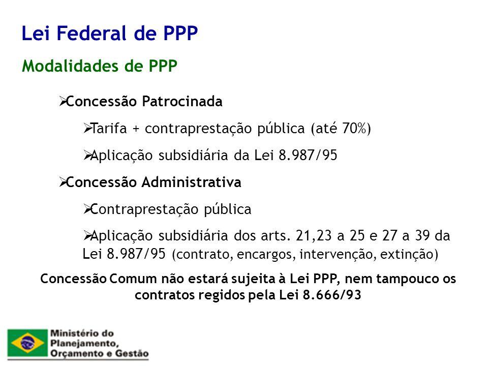 Vedações à PPP Lei Federal de PPP Valor inferior a R$ 20 milhões; Período de prestação do serviço inferior a 5 anos; ou Que tenha como objeto único: a) o fornecimento de mão-de-obra; b) o fornecimento e instalação de equipamentos; ou c) a execução de obra pública.