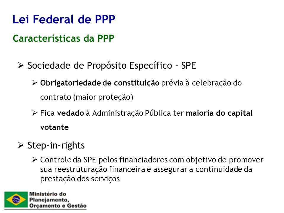 Características da PPP Lei Federal de PPP Sociedade de Propósito Específico - SPE Obrigatoriedade de constituição prévia à celebração do contrato (mai