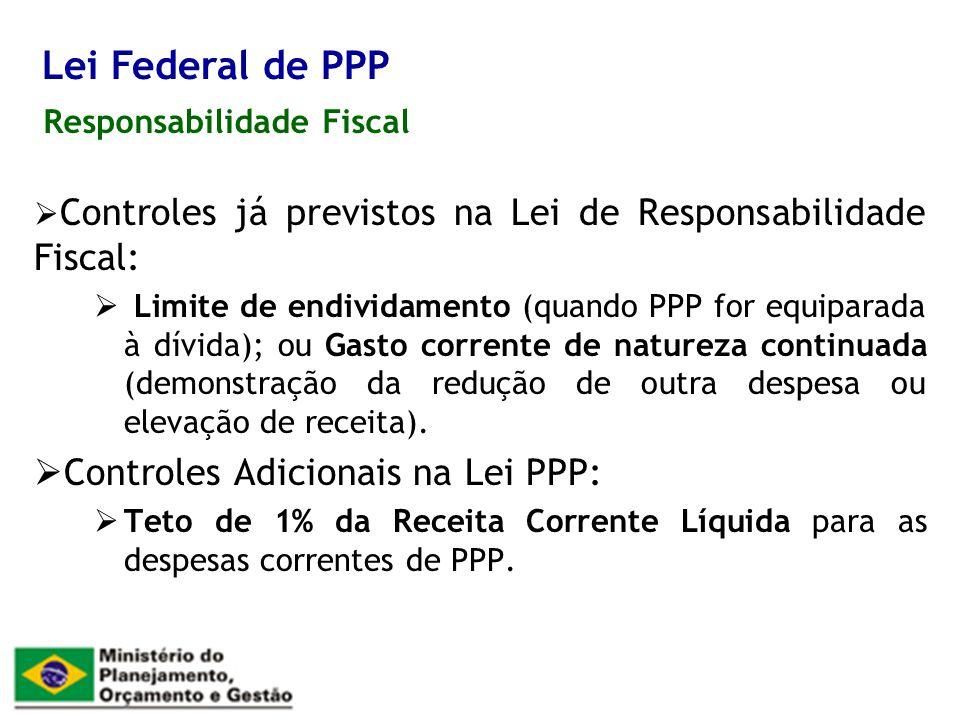 Responsabilidade Fiscal Lei Federal de PPP Controles já previstos na Lei de Responsabilidade Fiscal: Limite de endividamento (quando PPP for equiparad
