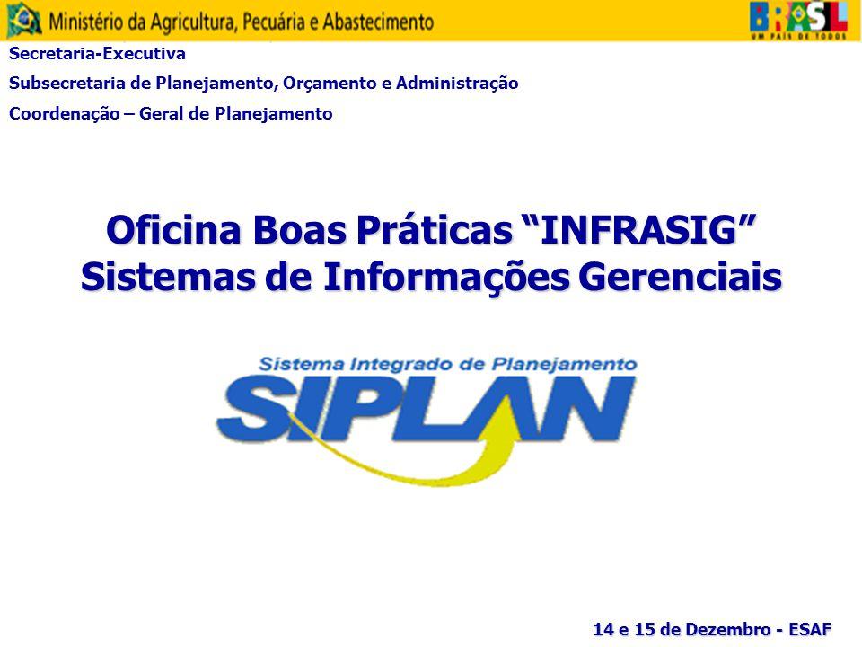 Oficina Boas Práticas INFRASIG Sistemas de Informações Gerenciais Secretaria-Executiva Subsecretaria de Planejamento, Orçamento e Administração Coorde