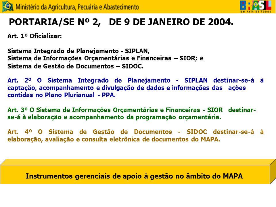 Art. 1º Oficializar: Sistema Integrado de Planejamento - SIPLAN, Sistema de Informações Orçamentárias e Financeiras – SIOR; e Sistema de Gestão de Doc